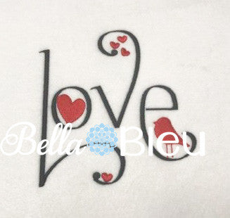 Love Words Saying with hearts and a bird Machine Filled Embroidery design