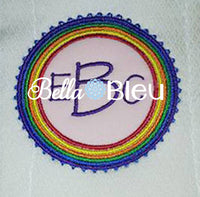 Rainbow Monogram Frame St Patricks Lucky Charm Machine Applique Embroidery design