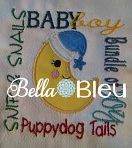 Baby Boy Moon Subway Art Machine Applique Embroidery Design