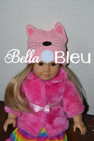 "ITH In The hoop Cat Beanie hat with ears Machine Embroidery Design fits 18"" dolls to teens"