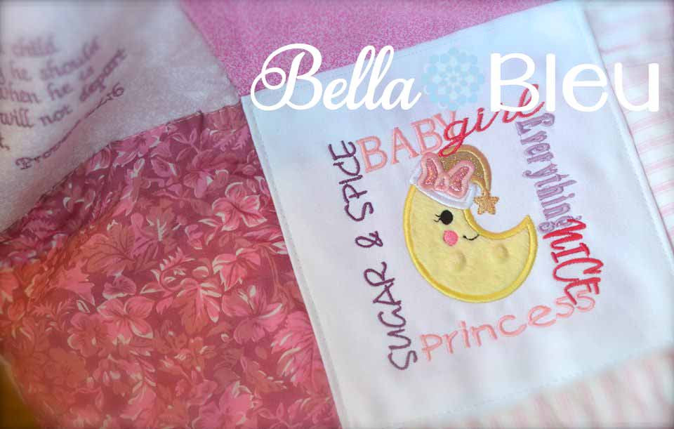 Baby Girl Subway Art Princess Moon Machine Applique Embroidery Design