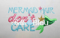 Mermaid Hair Don't Care Baseball hat cap machine embroidery design