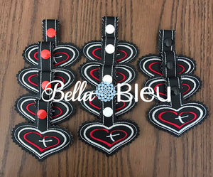 ITH Heart and Cross key fob Key chain in the hoop machine embroidery Design
