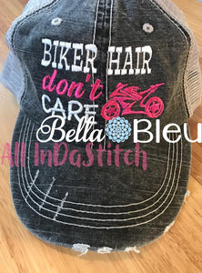 Biker Hair don't Care Baseball Hat Cap Machine Embroidery Design, Motorcycle Embroidery design
