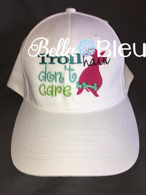Troll Hair Don't Care baseball cap hat machine embroidery design