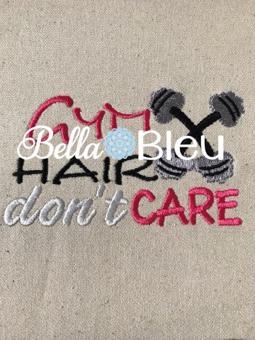 Gym Hair Don't Care Baseball Hat Cap Machine Embroidery Design, Hand weights