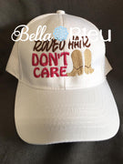 Rodeo Hair Don't Care Baseball Hat Cap Machine Embroidery Design, Cowboy Boots