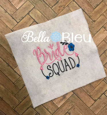 Bride Squad Bachelorette Wedding Party Machine Embroidery Design