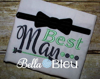 Best Man Wedding machine Embroidery applique Design with bowtie