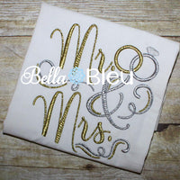 Mr and Mrs Wedding Rings Machine Embroidery Design