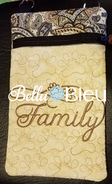 ITH In The Hoop Purse with Cat Dog Paw Prints Quilting Stipple 5x7 Machine Embroidery Design