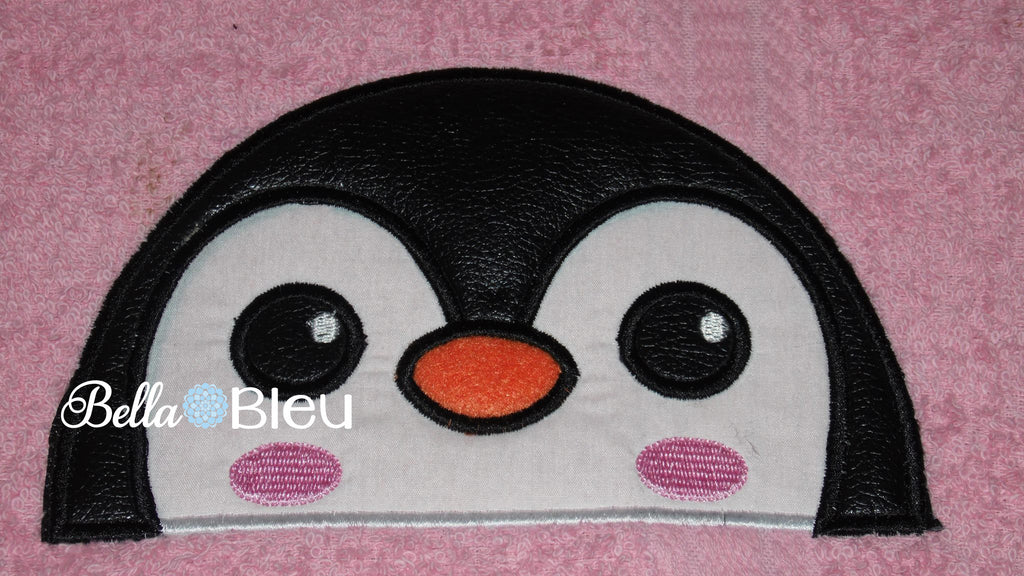Arctic Penguin Hooded Towel Toppers Topper Peeker Machine Applique
