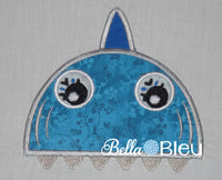 Fun Shark Jaws towel topper toppers peekers machine embroidery applique design
