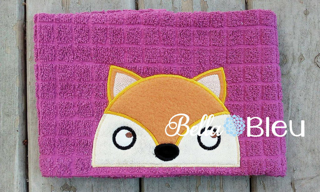 Adorable Fox Hooded Towel Topper Toppers Peeker Machine Applique
