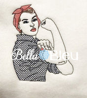 Rockabilly Embroidery design, Retro Rosie the Riveter lady Rockabilly Design, Machine Embroidery Design, Retro Urban Embroidery Design