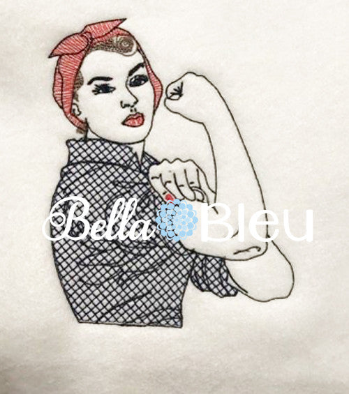 Rockabilly Embroidery Design Retro Rosie The Riveter Lady