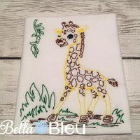 Jungle Giraffe Colorwork Embroidery Redwork quick stitch machine embroidery design