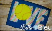 Raggy Baseball Softball Love Machine Bean Embroidery design