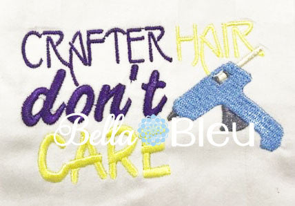 Crafter Hair Don't Care Baseball Cap Hat machine embroidery design