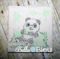 Jungle Panda Colorwork Redword Machine Embroidery Design