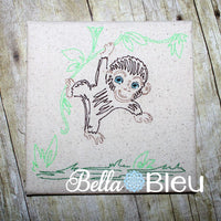 Jungle Monkey Colorwork Redwork Machine Embroidery Design