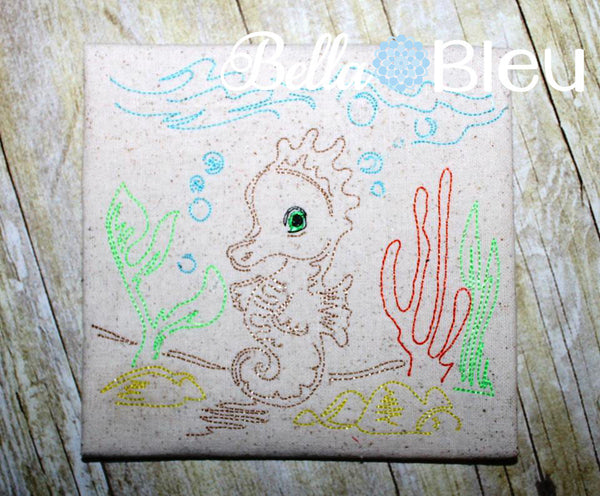 Beautiful Seahorse Nautical Colorwork Redwork machine embroidery design