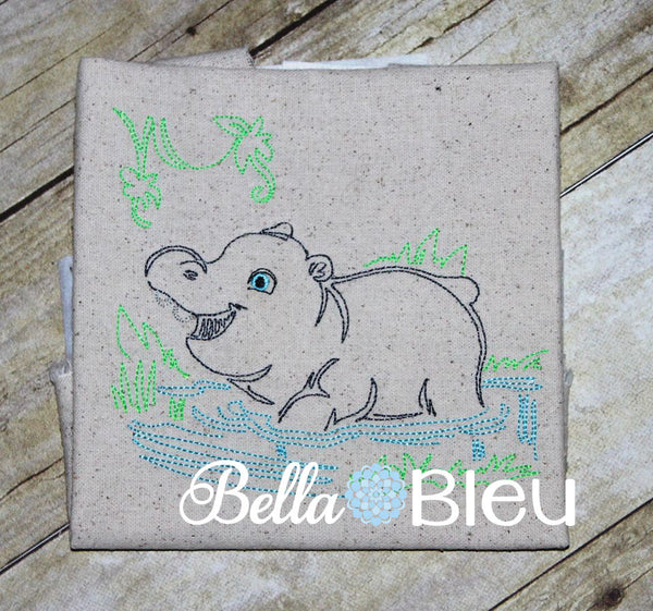 Jungle Hippo Colorwork Redwork Embroidery machine design