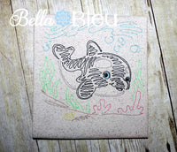 Killer Whale Nautical Sea Colorwork Redwork Machine Embroidery Design