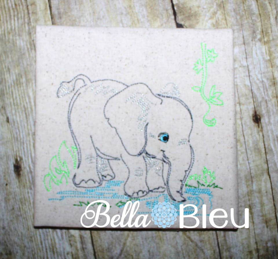 Jungle Elephant machine embroidery Beautiful Colorwork Redwork Quick Stitch design