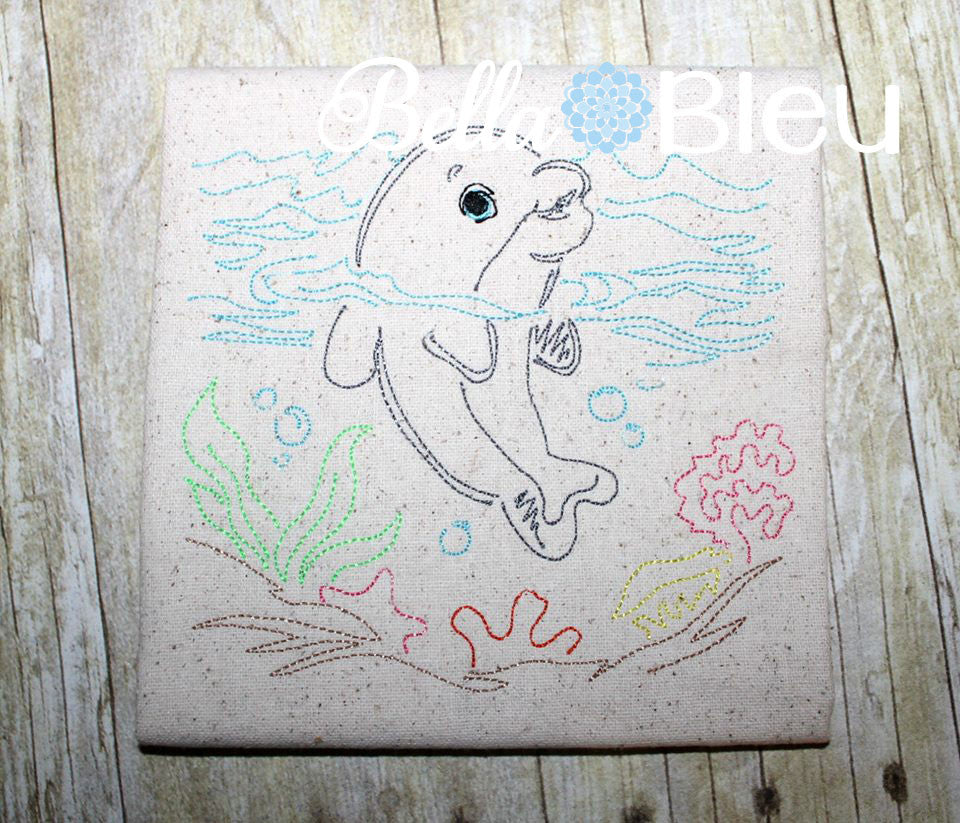 Sea Nautical Dolphin Colorwork Redwork Machine Embroidery Designs