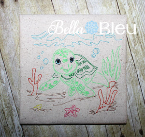 Adorable Sea Turtle Nautical Colorwork Redwork Machine Embroidery Design