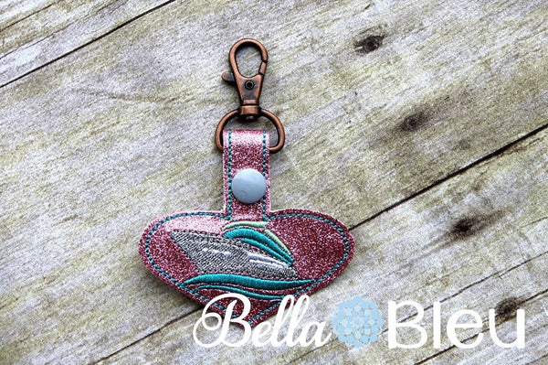 ITH Cruise Ship key fob luggage tag Key chain in the hoop machine embroidery Design Nautical