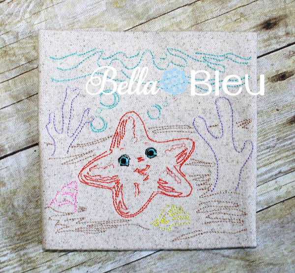 Nautical Sea Starfish Colorwork Redwork Machine Embroidery Design