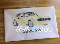 Camaro Hot Rod Muscle Car Fathers Day Machine Embroidery Design redwork colorwork