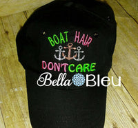 Baseball hat cap Boat Hair don't care with anchors machine embroidery design