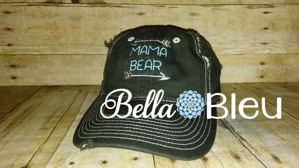 Mama Bear with Arrows Machine Embroidery Hat Design for hats