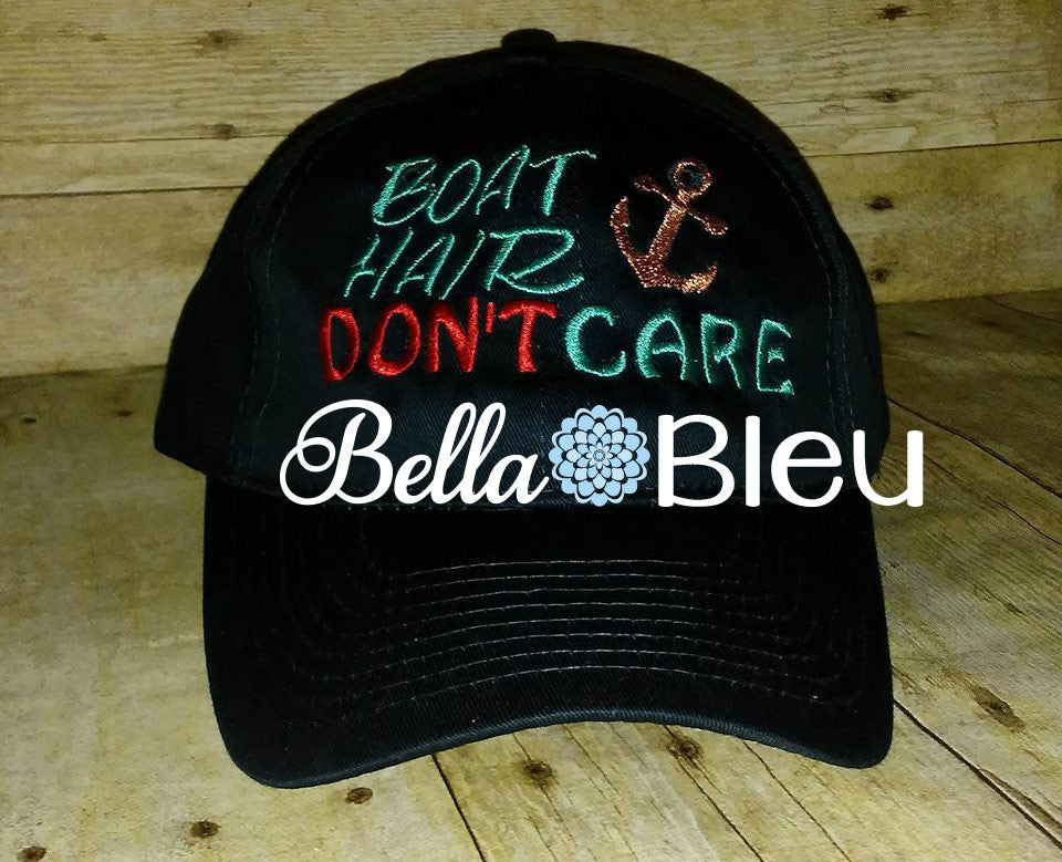 Boat Hair with Anchor Don't Care Baseball Hat Cap Machine Embroidery Design Hunting
