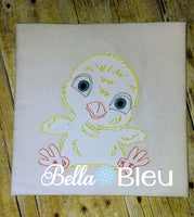 Baby Boy Chick Colorwork Farm Animal machine embroidery design