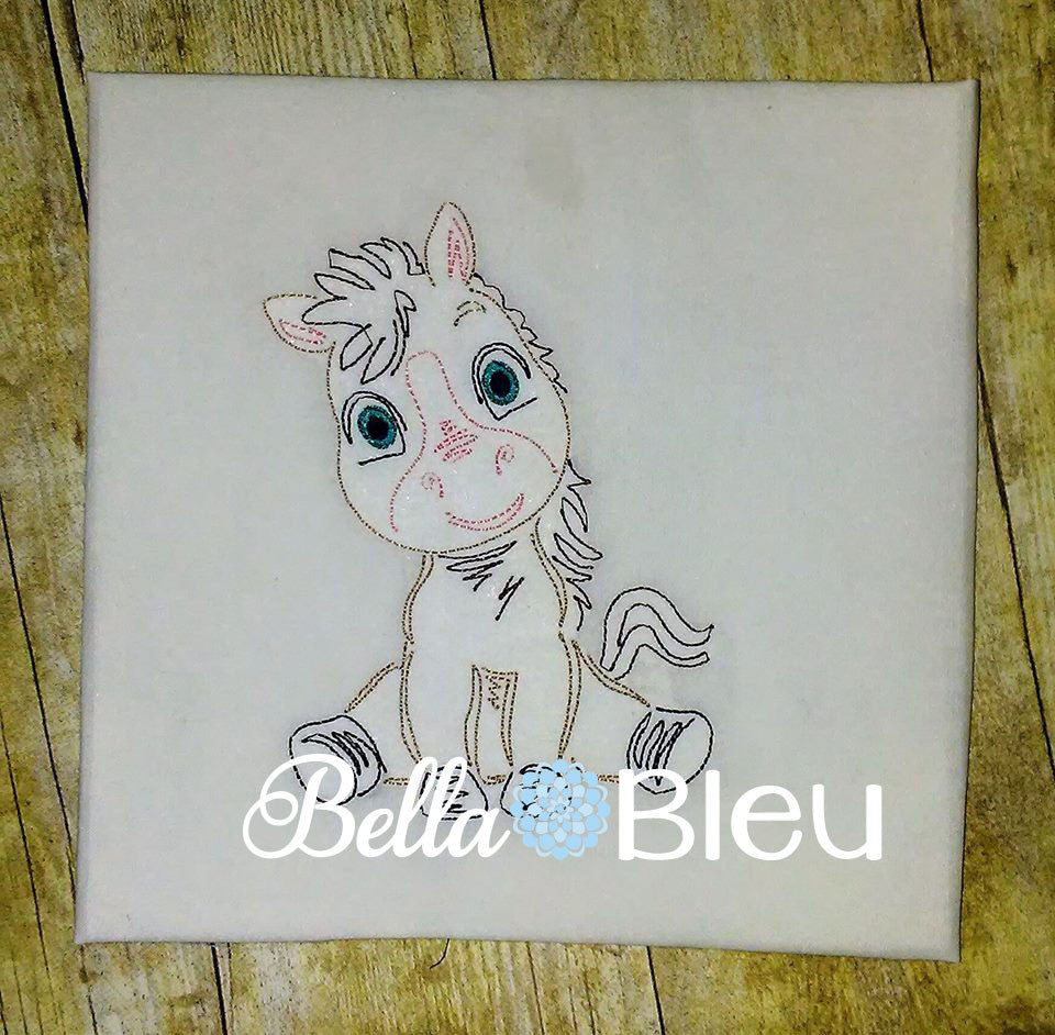 Baby Farm Animal Horse Colt colorwork machine embroidery design