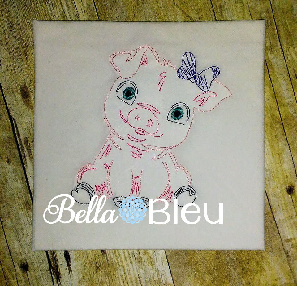 Baby Girl Pig Piggie with Bow farm animal machine embroidery colorwork design