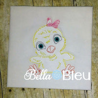 Baby Girl Chick with bow colorwork farm animal machine embroidery design