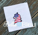 American Flag Horse Machine Filled Embroidery Design