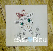 Baby Girl Cow with Bow farm animal colorwork machine embroidery design