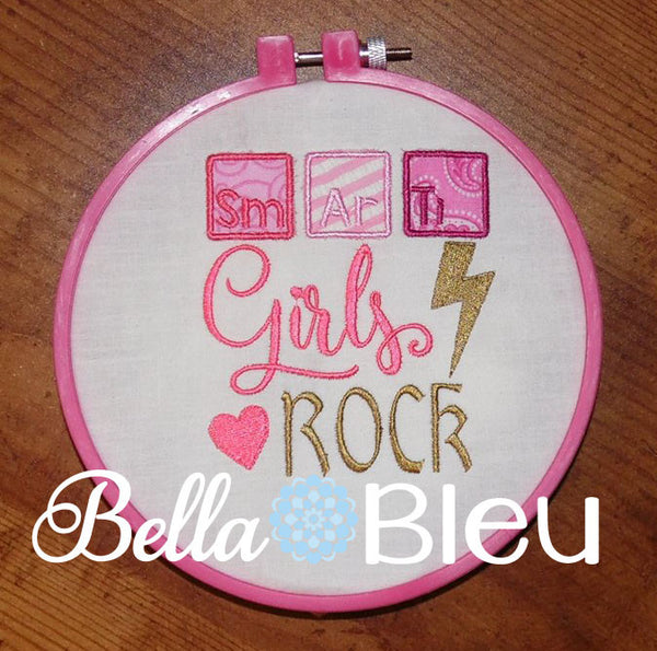 Back to School Girls Rock with Periodic Table Applique machine embroidery design