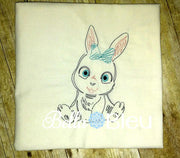 Baby Girl Bunny With Bow Farm animal colorwork machine embroidery design