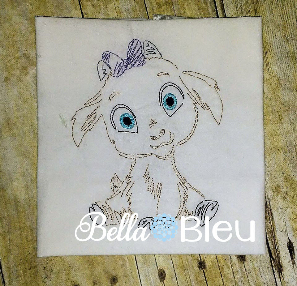 Billy Goat Girl with Bow Farm Animal quick stitch colorwork machine embroidery design