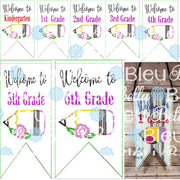 In the Hoop ITH Teacher Welcome to Grades Set Banner Machine Applique Embroidery design