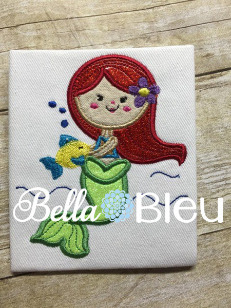 Inspired Mermaid Princess Ariel Machine Applique Embroidery Design