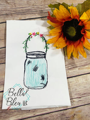 Mason Jar with Flowers Sketchy