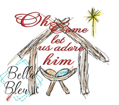Jesus Manger Oh Come Let Us Adore Him Scribble Sketchy